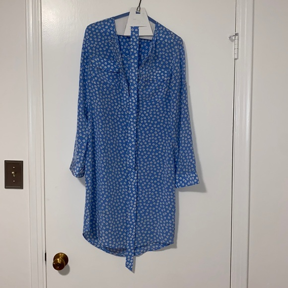 Blue and white silk shirt dress. Fits perfectly.